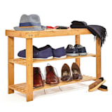 Shoe rack multipurpose bench 2 levels for 8 pairs of shoes sustainable bamboo