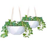 Laren hanging basket Ø 28 cm polystone with natural ropes set of 2