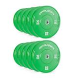 Capital Sports Nipton Bumper Plates viktplattor 5 par 10kg gröna hårdgummi