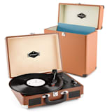 Peggy Sue Record Collector Set brown | Retro Plattenspieler | Plattenkoffer