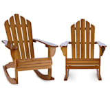 Rushmore Rocking Chair 2-piece Set Garden Chair Adironrack Style Brown