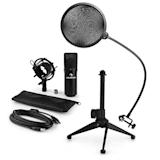 MIC-900B USB Microphone Set V2 | Black Condenser Microphone | Pop shield| Tabletop Stand
