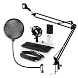 MIC-900WH USB Microphone Set V4 Condenser Design Pop-Protection Microphone Arm white