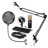 MIC-900BG USB Microphone Set V4 Condenser Microphone Pop-Protection Microphone arm gold