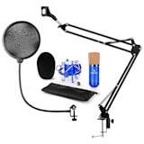 CM001BG set de micrófono V4 micrófono condensador brazo de micrófono protección anti POP azul