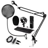 CM001B set de micrófono V4 micrófono condensador adaptador USB brazo de micrófono protección anti pop negro