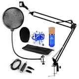 CM001BG set de micrófono V4 micrófono condensador adaptador USB brazo de micrófono protección anti pop azul