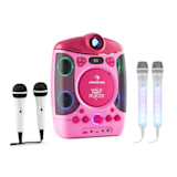 auna Kara Projectura Dazzl Set Karaoké lecteur CD CD-G USB MP3+2 micros - rose
