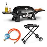 Parforce Duo, plynový gril, plynová hadica, grilovací stôl, 2 horáky, 4,4 kW, 15000 BTU, čierny
