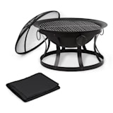 Blumfeldt Pentos 2-in-1 Fire Bowl Ø73cm Spark Protection Ø60cm Grill Protective Cover