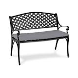 Pozzilli BL Gartenbank & Polster Set | Material: Aluminiumguss | witterungsbeständig | Platz für 2 Personen | ComfortExtra: inklusive wasserabweisendem Sitzkissen mit 4 cm hoher Schaumstoff-Füllung |  schwarz / grau