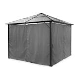 Pantheon Solid Sky Pavillon Gazebo Pergola | Aluminiumkantrohr | überdachte Fläche: 3x3 m | 7,6x7,6 cm Eckpfosten mit 1,2 mm Materialdicke | solides Dach aus 6mm Polycarbonat-Doppelstegplatten | rostfrei | mit 4 grauen Seitenwänden