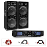 "PW-2222 MKII, PA Set, Amplifier + 2 Passive 12"" PA Speakers, 500W RMS / 1000 W max., 3-Way"