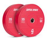 Sports Nipton 2021 Bumper Plate Gewichtsplatte | 2 x 25 kg |  Stahlinnenring | 50,4 mm Aufnahmeöffnung | Hartgummi