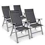 London Gartenstuhl Klappstuhl | 4 Stück | Sitzfläche: 45 x 44 cm | 6 Sitzpositionen – 5-fach verstellbar | wetterfestes Textilene | pulverbeschichtetes Aluminiumgestell | faltbar | Klappsicherungshebel