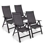 London Juego de 4 sillas de jardín Textilene Aluminio 6 posiciones Plegable