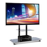 Home Cinema TV Stand w.LCD Mount & Black Glass Shelf/Base Black