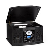 NR-620 Retro Record Player Turntable CD MP3 USB SD Tape Radio Black Black