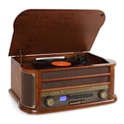 RM1-Belle Epoque 1908 tocadiscos vintage reproductor vinilo marrón oscuro Marrón | CD-Player