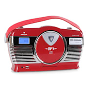 RCD-70 Retro Vintage Portable Radio FM CD/MP3 USB Battery - Red Red