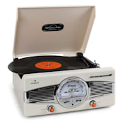 MG-TT-82C Retro '50s Record Player Turntable FM Radio Cream Creme