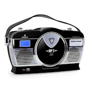 RCD-70 Retro Vintage Portable Radio FM CD/MP3 USB Battery - Black Black