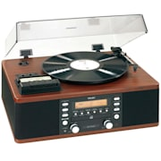 LP-R500 Plattenspieler mit CD-Recorder Radio Aufnahmefunktion Bass-Reflex-Lautsprecher schwarz