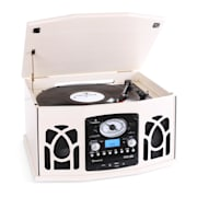 NR-620 Retro Record Player Turntable CD MP3 USB SD Tape Radio Cream Creme