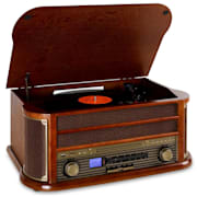 Belle Epoque1908 Minicadena con tocadiscos USB CD MP3 Bluetooth Marrón | Reproductor de CD/Bluetooth