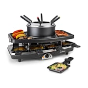 Entrecote-Fondle Raclette Grill Stone Fondue 1100W 8 ppl Wooden Pan Tablets not included