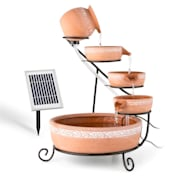 Empoli, vízeséses szökőkút, terrakotta, 5 szint, 200 l/h, napelemes, 2 W, LED