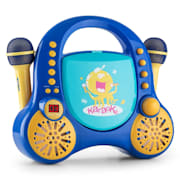 Rockpocket, detský karaoké systém, CD, AUX, 2 x mikrofón, sada nálepiek, modrý Modrá