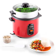 Osaka 1.5 Premium Rice Cooker with Steamer Attachment 1.5 Litres 1.5 ltr/red with attachment