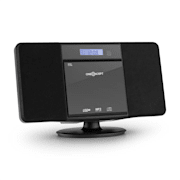 V-13 BT, sistem stereocu CD MP3 USB Bluetooth radio și ceas cu alarmă, montare pe perete Negru | CD-Player / Bluetooth