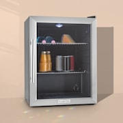Beersafe XL Kühlschrank 60 Liter 2 Böden Panoramaglastür Edelstahl  Silber | 60 Ltr