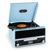 RTT 1922 Retro Vinyl Stereo CD MP3 USB AUX FM Recording Blue