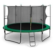Rocketstart studsmatta 366cm säkerhetsnät på insidan, bred stege, grön grön | 366 cm