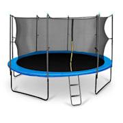 Rocketboy studsmatta 430cm säkerhetsnät på insidan, bred stege, blå blå | 430 cm