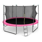 Rocketgirl studsmatta 430cm säkerhetsnät på insidan, bred stege, rosa rosa | 430 cm
