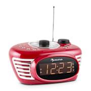 RCR 56 RD, ceas cu alarmă retro, FM, AUX, alarmă dublă, roșu