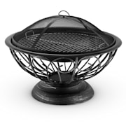 Tulip Fire Pit ø75cm Barbecue Fireplace Spark Protection Burnished Steel