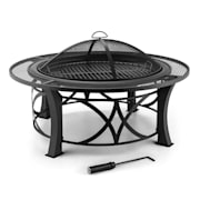 Ronda Fire Pit ø95cm Barbecue Fireplace Spark Protection Burnished Steel