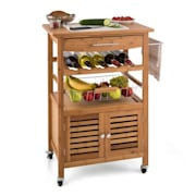 Louisiana Kitchen Trolley Serving Wagon 4 Floors Bamboo