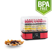 Valle di Frutta 5-Tiered Stainless Steel Food Dehydrator 250W Red Red