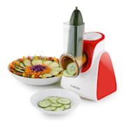 Carrot & Rock Salatschneider Gemüsehobel Reibe 150W 5 Aufsätze rot Rot