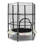 Rocketkid 4 trampolin 140cm säkerhetsnät bungefjädring blommönster