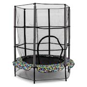 Rocketkid 5 trampolin 140cm säkerhetsnät bungefjädring blommönster