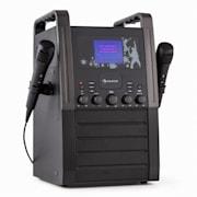 KA8P-V2 BK, černá, karaoke systém s CD přehrávačem, AUX, 2 mikrofony