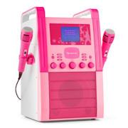 KA8P-V2 PK, růžová, karaoke systém s CD přehrávačem, AUX, 2 mikrofony