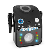 StarMaker, karaoke systém, CD, bluetooth, AUX, LED světelný efekt, 2 x mikrofon Černá
